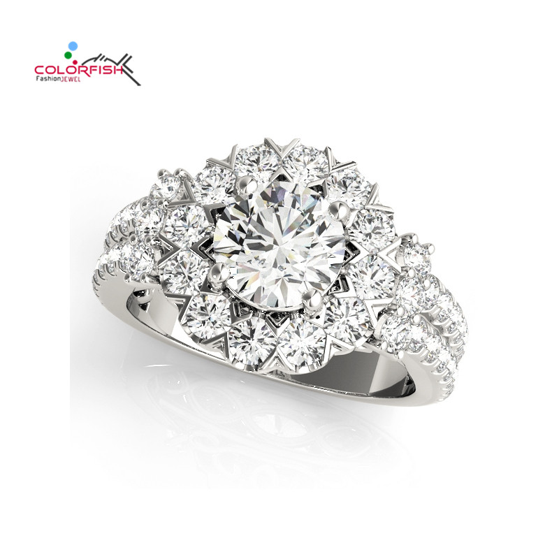 COLORFISH 100% Real 925 Sterling Silver Rings for Women Luxury 1 Carat Round Cut Sona Cubic Zirconia Wedding Ring Luxury Jewelry luxury 100