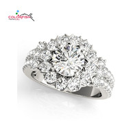 COLORFISH 100 Real 925 Sterling Silver Rings For Women Luxury 1 Carat Round Cut Sona Cubic