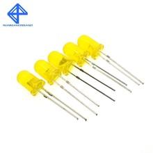 100 stücke 5mm Diffuse Gelbe LED Diode DIP Runde Weitwinkel Durch Loch 2 Pin LED Licht Emittierende Diode lampe 580-590nm 2v