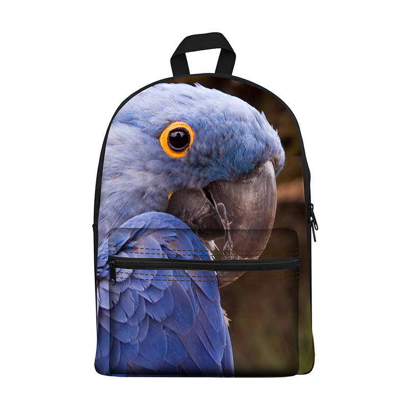 New 2017 Kawaii canvas Backpack for Girls Fashion Children School Bag Cute Animal parrot feathers Backpack Kids School Backpack new fashion animal school bag for boys cute dog children orthopedic school backpack for girls children mochila escolar for kids
