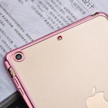 For iPad 5 Fashion Plating Frame  Crystal  for iPad Air 9.7″Transparent  Soft TPU Tablet