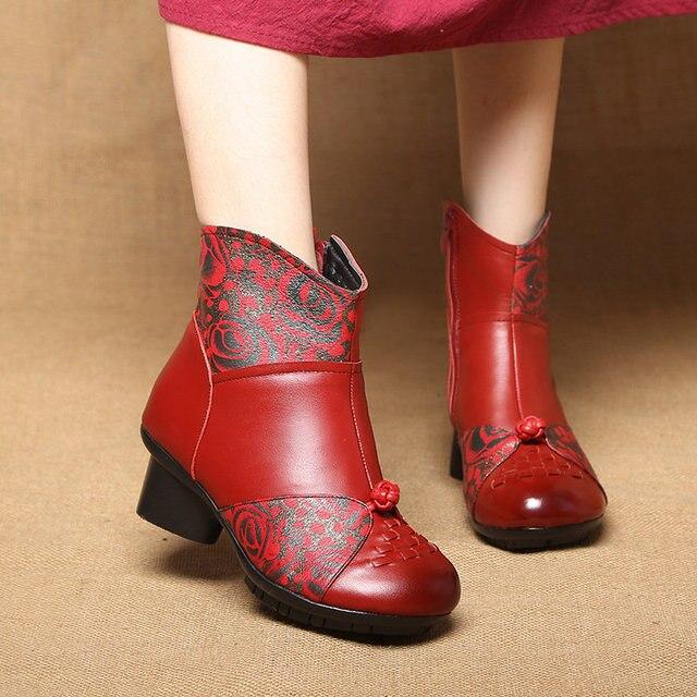 Stivali Della Caviglia delle donne di stile Nazionale Casual Madre scarpe Caldi di Inverno Della Peluche Retro Caricamenti del Sistema Delle Signore Femminile antiscivolo in Vera pelle scarpe