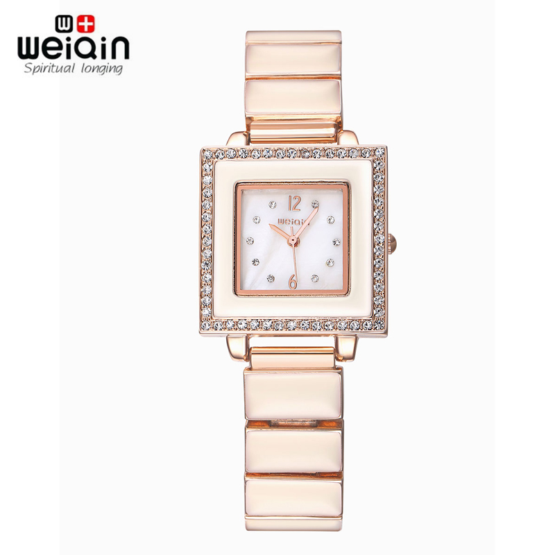 WEIQIN Square Dial Crystal Rhinestone Bracelet Watches Women 24 hours  Quartz Fashion Dress Ladies Watch Female 2017 New weiqin unique rhinestone silver bracelet watches women quartz fashion dress ladies watch flamengo female clock montre femme