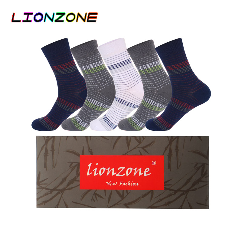 LIONZONE 5Pairs/Lot Classic Dress Men Socks With Striped Muti Masculino Business Breathable Bamboo Socks