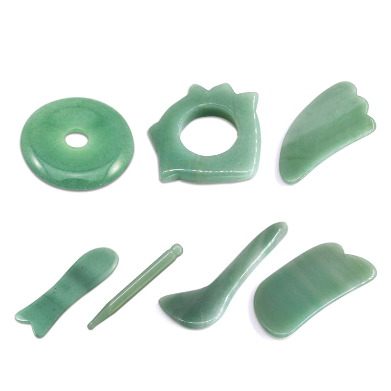 7Pcs/Set Natural Aventurine Jade Stone Guasha Massage Tool Acupuncture Spa Therapy Gua Sha Massager Scraping Board Antistress