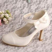 Epacket Dropshipping Size 11 Wedding Shoes Bride Ivory High Heel Formal Dress Shoes Zipper