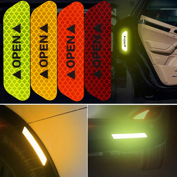 4pcs Car door safety anti-collision warning reflective stickers For Skoda Octavia 2 A7 A5 Rapid Superb Mazda 6 Chevrolet Cruze image