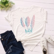 GUMPRUN Women Clothes 2019 Fashion Cotton T Shirt Feather Print Short Sleeve Plus Size Ladies Streetwear Casual Tshirt