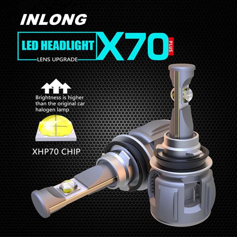 Inlong 2 Pcs H4 H7 Voiture LED Phare Ampoules H11 H8 9005 9006 HB4 H9 D4S D2S D1S XHP70 Puces 72 W 15600LM Phare Brouillard Lumières 6000 K