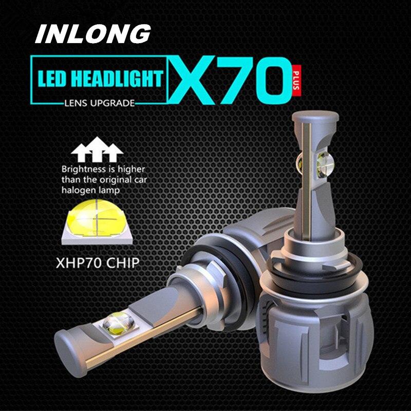 Inlong 2 pièces H4 H7 Voiture phare LED Ampoule H11 H8 9005 9006 HB4 H9 D4S D2S D1S XHP70 Puces 120 W 15600LM Phare Antibrouillards 6000 K