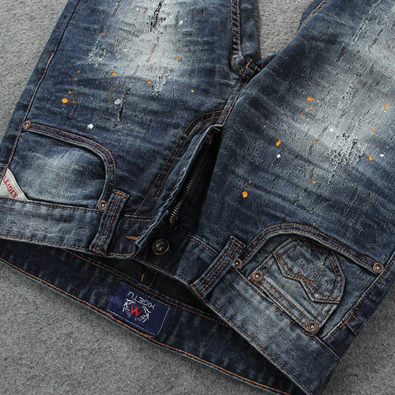 Модные уличные мужские джинсы ретро мыть рваные джинсы краска дизайнер хип хоп брюки печатная версия джинсы для мужчин