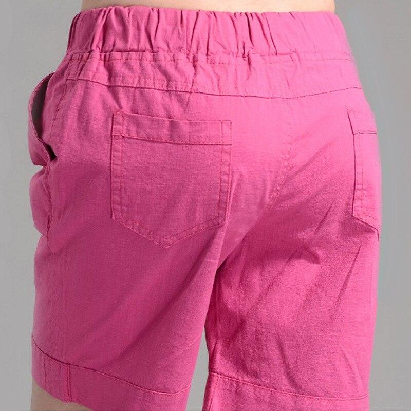 2018 Большие размеры летние короткие брюки женские в Корейском стиле из хлопка и льна с эластичной талией повседневные Бриджи Мода для девоче...