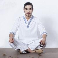 Asian Men's Yoga Suits White Tai chi Uniform Cotton High Quality Wushu Kung fu Clothing For Men Martial arts Wing Chun Suit