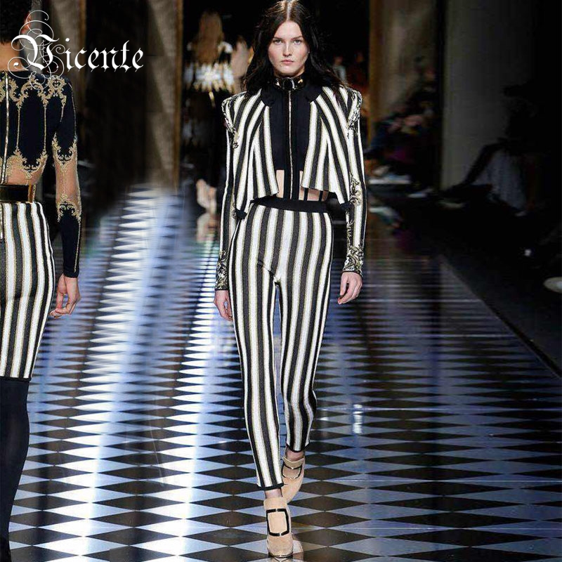 Free Shipping! 2018 New Fashoin Elegant Striped Long Sleeves Appliques Embellished Two Pieces Wholesale Party Women Bandage Set