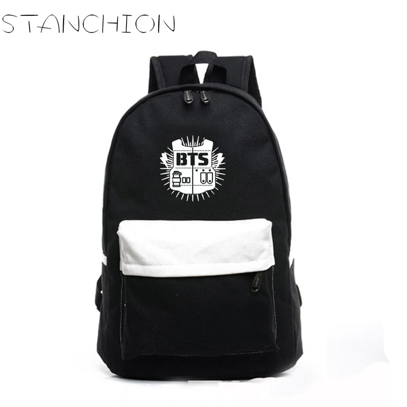 High Quality BTS Printing Canvas Backpack For Women School Bags For Teenage Girls Back Pack Mochila Feminina