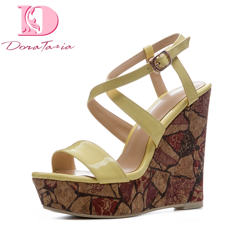 DoraTasia New Size 34-41 Platform Yellow Brand Shoes Woman Sexy Wedges High Heels Party Summer Shoes Sandals Women Footwear women platform high heel sandals shoes woman sexy heels quality wedding fashion footwear summer shoes lady size 32 45 g875 79