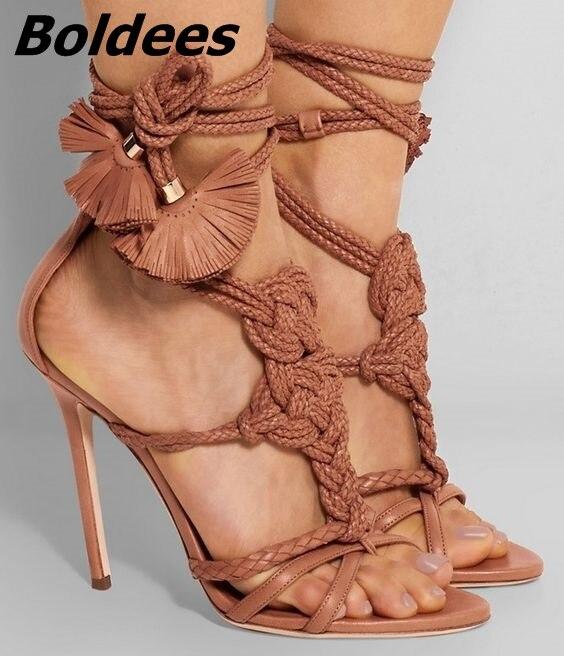 Novo design na moda corda marrom franja flor fina salto alto vestido sandálias mulheres dedo do pé aberto sapatos de tiras sandálias extravagantes venda quente - 2