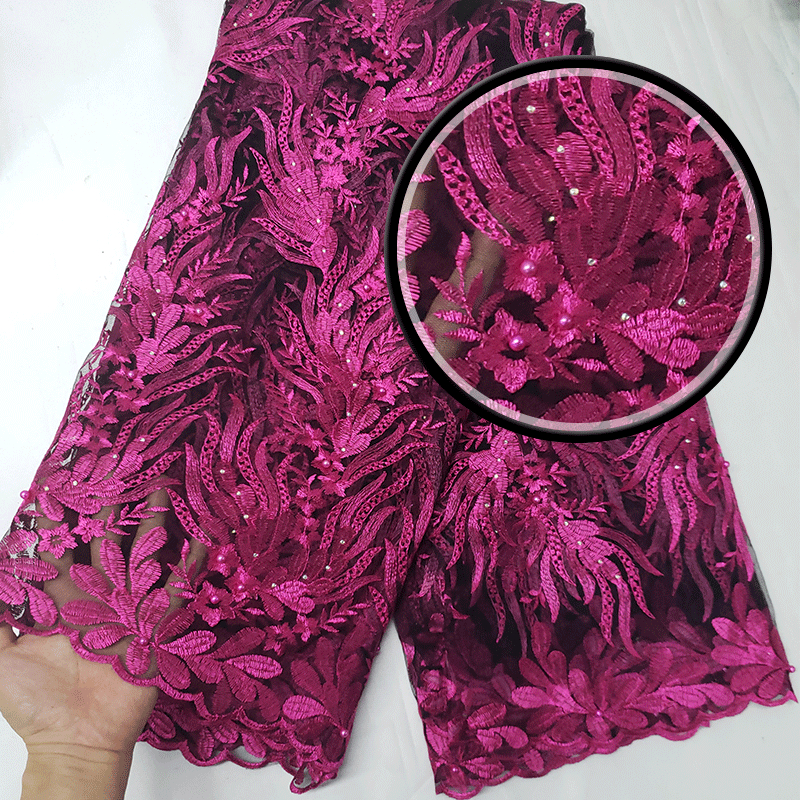Factory Offers High Quality Latest African Frence Net Lace With STONES Fabric For Nigerian Wedding Dresses Wins638 Black+Pink