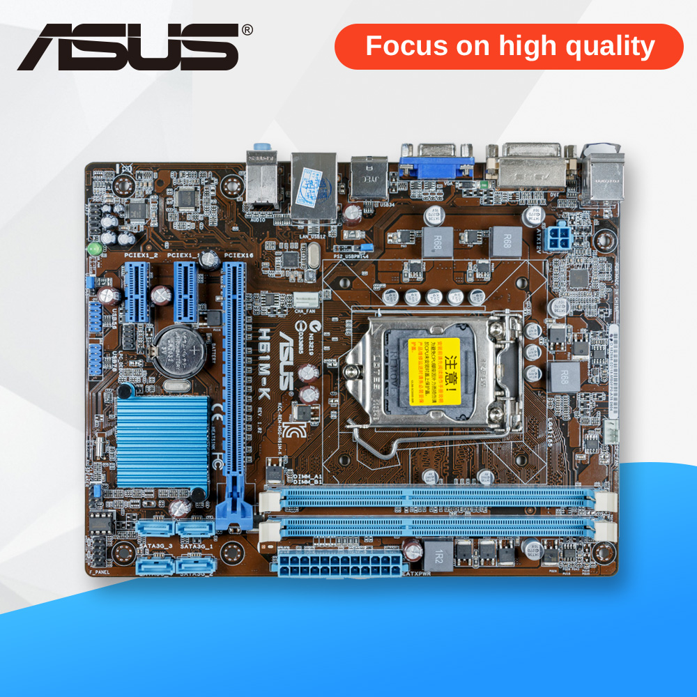 Asus H61M-K Desktop Motherboard H61 Socket LGA 1155 i3 i5 i7 DDR3 16G ATX On Sale asrock h61m vs3 original used desktop motherboard h61 socket lga 1155 i3 i5 i7 ddr3 16g usb2 0 micro atx