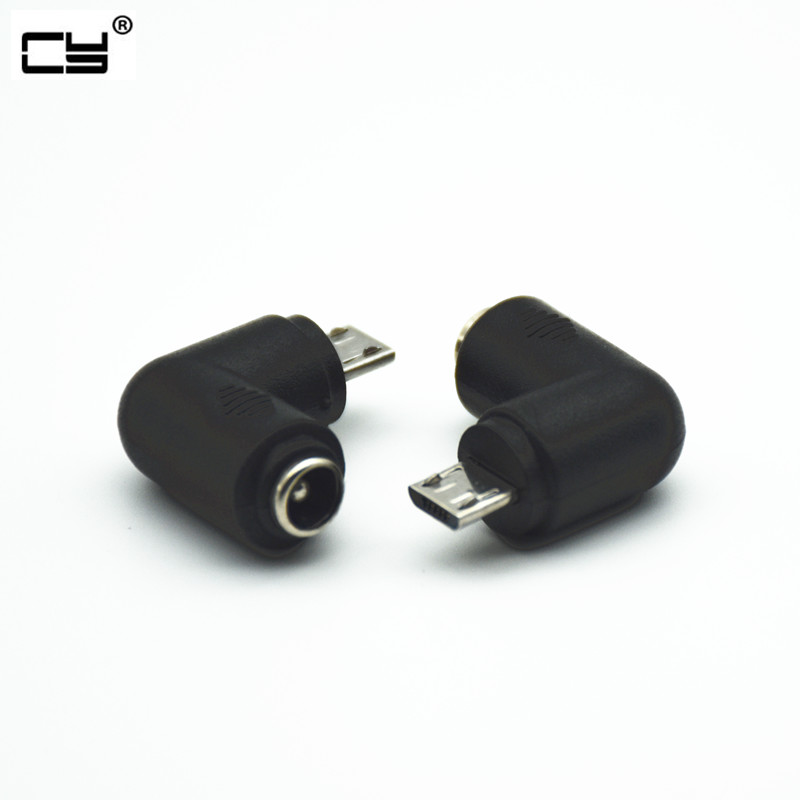 12V DC Power Adapter DC5.5*2.1mm Female To Micro USB Male Adapter 90 Degree Converter For Phone And Tablet