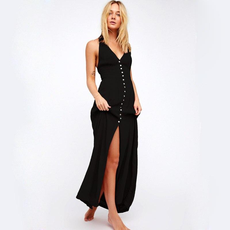 Women Summer Boho Dress Sleeveless Backless Sexy Long Dress Deep V-Neck Bohemian Long Dress Halter Beach Dress Vestido