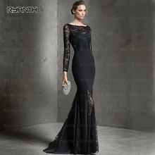 RBE28 Formal Lengthy Sleeve Mermaid Night Gown 2016 New Arrival Gown de soiree Horny Black Lace Backless Promenade Get together Attire