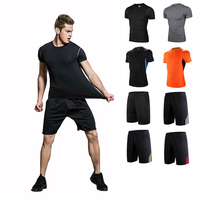 Breathable Fast Drying Men S Training Exercise Sport Wear Sport Shirts And Shorts 2 Pieces Uniform