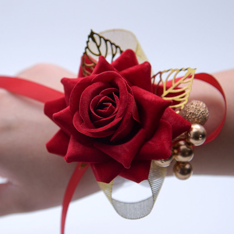Wrist Corsage Bridesmaid Sisters Hand Flowers Artificial Bride Flowers For Wedding Dancing Party Decor Bridal Prom Accessories