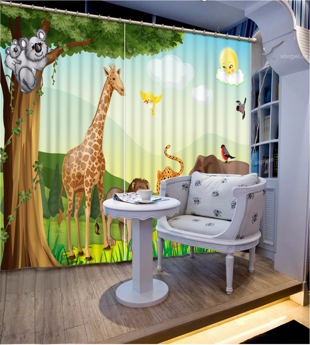 The Animal Curtains Home Decor Curtain Blackout Bedroom Window Curtains For Children Room Polyester/Cotton Curtains