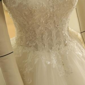 Image 5 - SL 9012 Vintage Off the Shoulder Wedding Dress Lace Up Back Applique Bridal Ball Gowns 2018