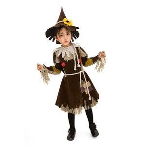 Image 3 - Der Zauberer von OZ Kürbis Patch Scarecrow Kostüm Cosplay Mädchen Kinder Halloween Karneval Cosplay Partei Erstaunliche Phantasie Kleid Up Anzug