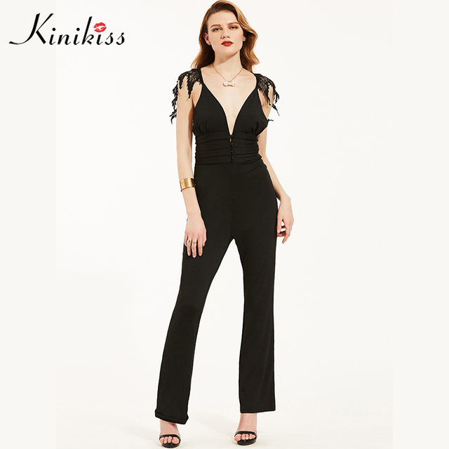 38aaf61618 Kinikiss women rompers jumpsuit 2018 spring dark blue v neck button zippers  wide legs fashion straight summer female jumpsuits