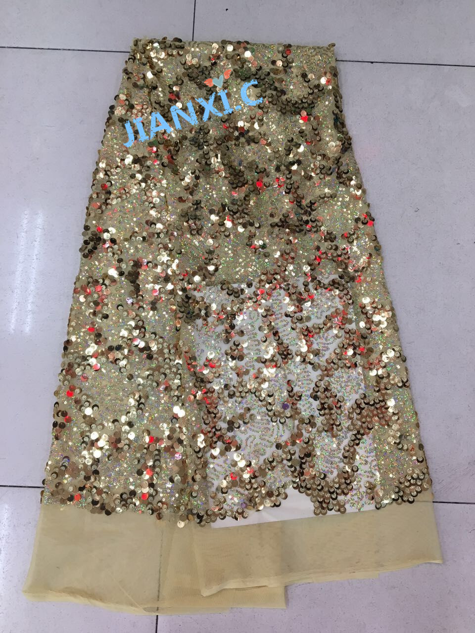 Top selling french net lace fabric JIANXI C 81003 good quality sequins net lace fabric for
