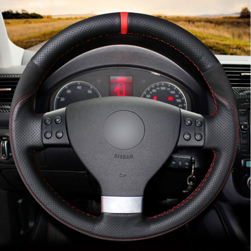 Black Natural Leather Black Suede Car Steering Wheel Cover for Volkswagen Golf 5 Mk5 VW Passat