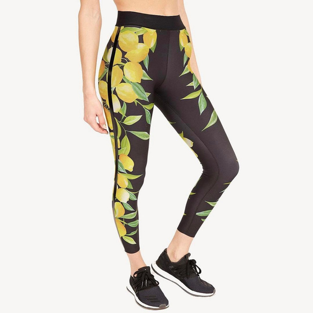 c2681825228a7 Fitness Women's Sports Leggings Running Yoga Pants Slim Fit Elastic Waist  Spandex Breathable Tights Lemon and leaves printing