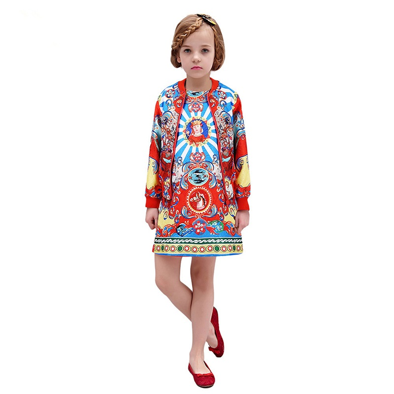 ФОТО Fashion Girls Clothing Set Jacket + Dress Brand Designer Costumes Girls Outfits Vetement Fille Kids Tracksuit