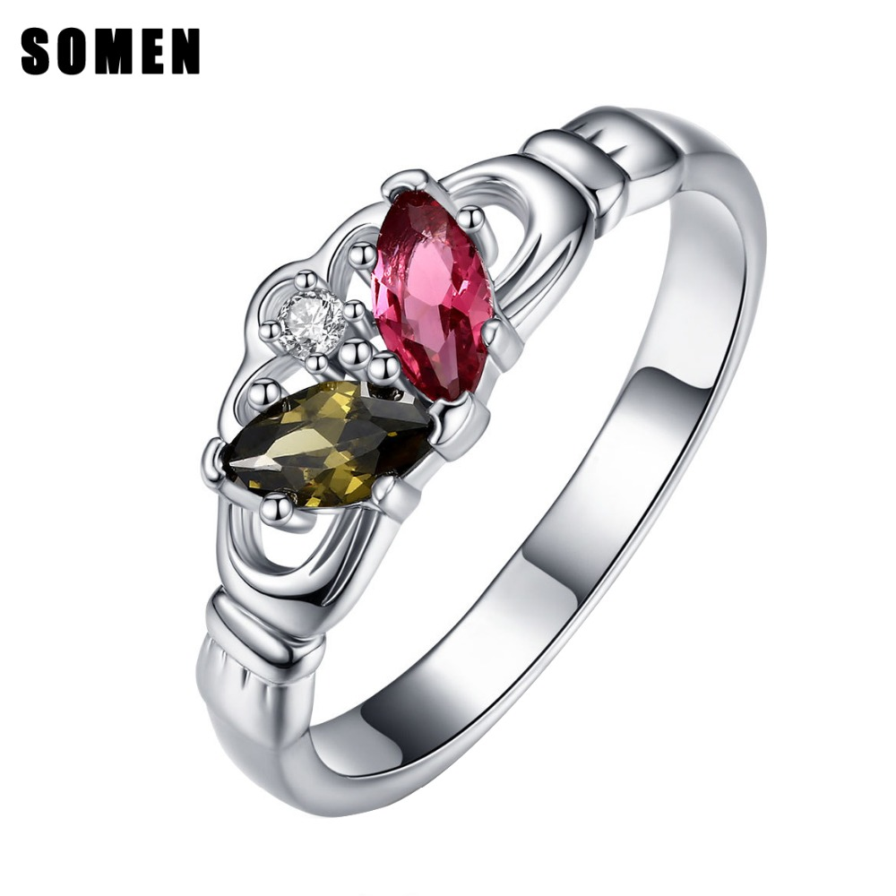 Somen 2018 Queen Women 925 Sterling Rings Original Authentic AAAAA Stone Fashion Jewelry Romantic Gift Free Engraving