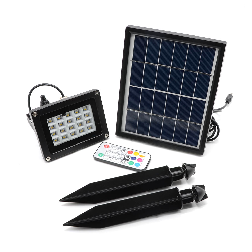 Solar Panel LED Landscape Garden Yard Path Lawn Light 20RGB 5050LED Solar Lamps Remote Control Outdoor Grounding Floodlight free shipping crack ball solar lamp vintage garden lawn colorful led light solar charging panel lamps1004