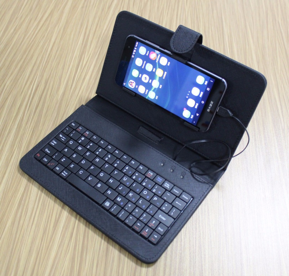 Black Mini Wired Keyboard General Wired Keyboard Flip Holster Case For Andriod OTG Mobile Phone 4.2