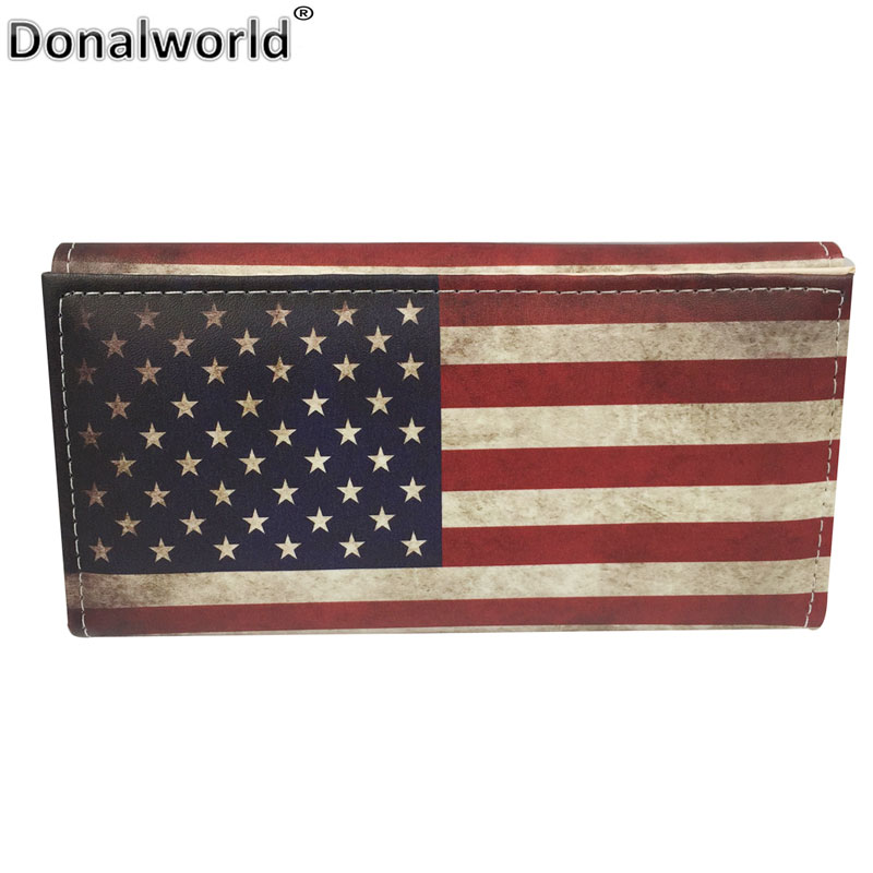 Donalworld New Fashion Purse UK USA Flag Print Purse Long Unisex Wallet Card Holder Bag For Women Men Wallets PU Leather Purses