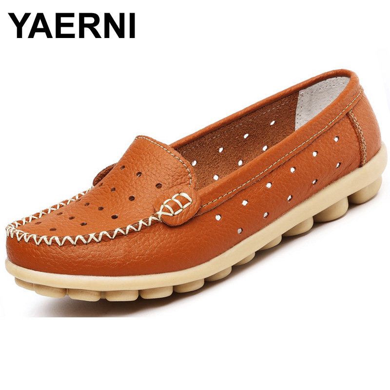 YAERNI Hollow Out Breathable New 2016 Summer Genuine Leather High Quality Fashion Shoes Women Moccasins casual Flat Loafers BSN-