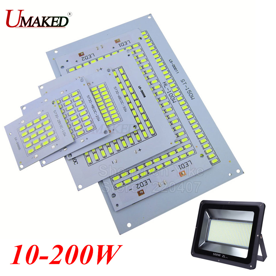 1PC 100% Full Power LED Floodling PCB 10W 20W 30W 50W 70W 100W 150W 200W SMD5730 led PCB board,Aluminum plate for led floodlight 50w led pcb with smd5730 integrated ic driver aluminum plate free shipping