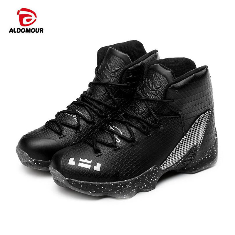 ALDOMOUR 2017 Men Women High Top Basketball Shoes Sneakers Basketball Sports Shoes Men Leather Sport Boots Athletic Shoes