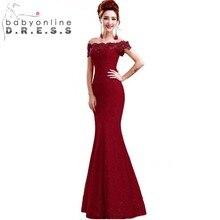 Em Estoque Elegante Beads Lace Sereia Longo Vestido de Noite 2017 Barato Vestidos de Baile vermelho Robe De Soirée Off The Shoulder Vestido de Festa(China (Mainland))
