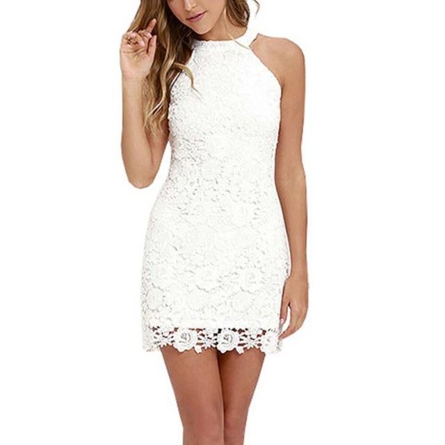 87c86e30cd Sexy Women Elegant Wedding Party Sexy Night Club Halter Neck Sleeveless  Sheath Bodycon Lace Mini Dress