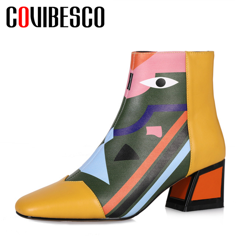 COVIBESCO Fashion Brand Women Genuine Leather Ankle Boots High Heels Zipper Autumn Winter Motorcycle Boots Short