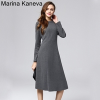 Large Size Simple Temperament Dress Female High Waist Slim Long Sleeve Commuter Autumn And Winter Primer