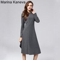 Large Size Simple Temperament Dress Female High Waist Slim Long Sleeve Commuter Autumn And Winter Primer