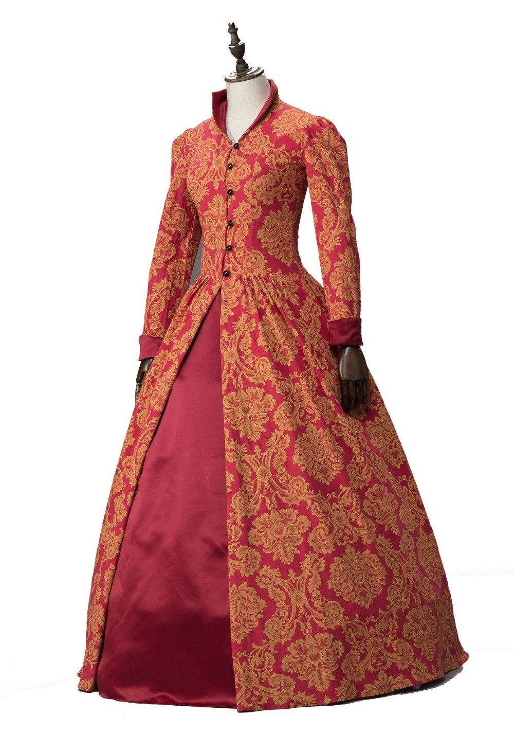 Robe de bal bordeaux Marie Antoinette coloniale mascarade victorienne brocart théâtre robe de bal période impression argent/Champa