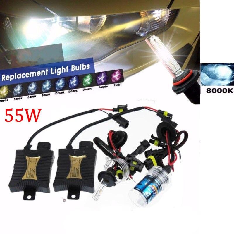HID Xenon Headlight Bulb 12V 55W 8000K H7 Light Conversion 8000K Ballast Slim Kit Universal for bmw e46 e39 volkswagen toyota black slim hid xenon ballast h9 8000k headlight kit conversion bulbs 35w [c470]